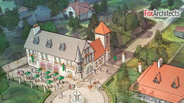 A rendering of a small Kraftig Brauhaus at Grant's Farm (Credit: FoxArchitects / Billy Busch)