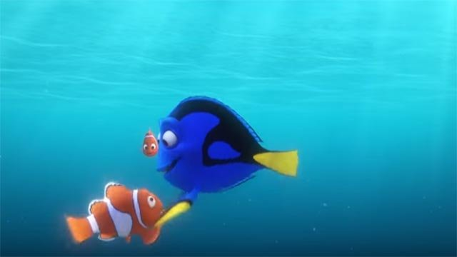 Dory, Marlin and Nemo in a scene from 'Finding Dory' (Credit: Disney / YouTube)