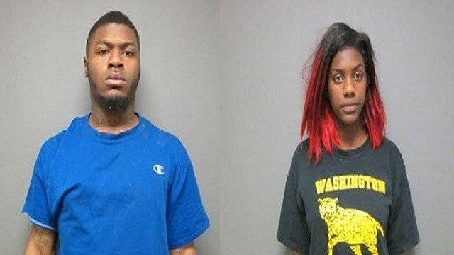 Norlando T. Jackson (L) charged with felony property damage & obstructing police officer; Tori D. Tigue (R) charged with obstructing police officer (Credit: St. Clair County Jail)