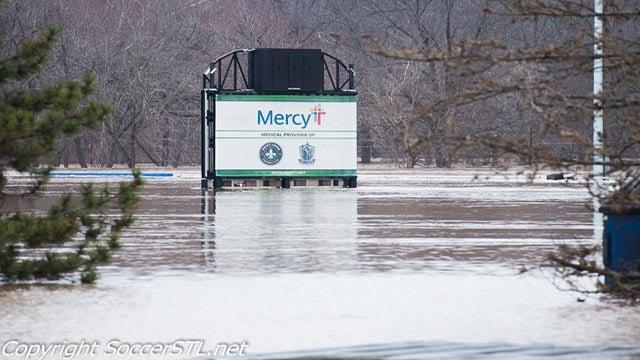 The World Wide Technology Soccer Park was flooded on Dec. 30 (Credit: SoccerSTL.net)