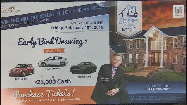 Home raffle flyer advertised on behalf of the Hope Institute for Children and Families (Credit: KMOV)