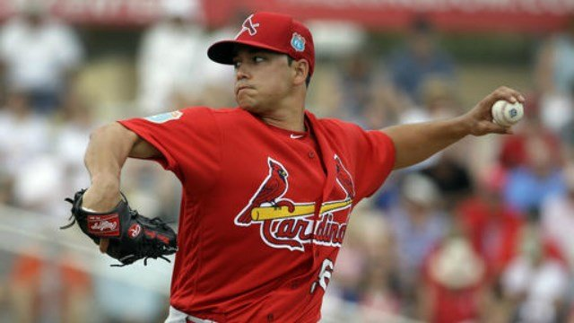 St. Louis Cardinals starting pitcher Marco Gonzales throws during the first inning of an exhibition spring training baseball game against the Miami Marlins Saturday, March 5, 2016, in Jupiter, Fla. (AP Photo/Jeff Roberson)