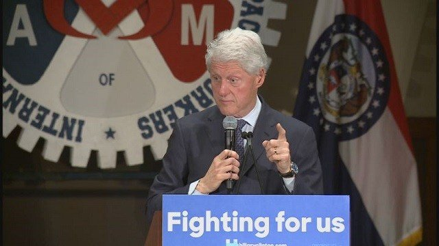 Bill Clinton campaigned for wife, Hillary Clinton, in Bridgeton, Missouri (Credit: KMOV).