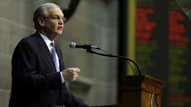 Missouri Gov. Jay Nixon delivers the annual State of the State address to a joint session of the House and Senate, Wednesday, Jan. 20, 2016, in Jefferson City, Mo. (AP Photo/Jeff Roberson)
