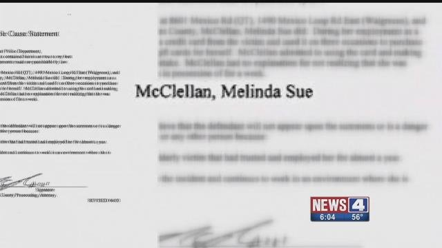 Melinda McClellan is accused of stealing thousands from an elderly couple in O'Fallon, Mo.