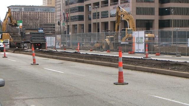 Construction underway at Kiener Plaza in St. Louis (KMOV)