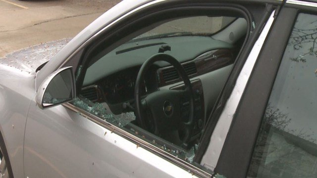This car is one of three damaged in an early morning string of break-ins. (Credit: KMOV).