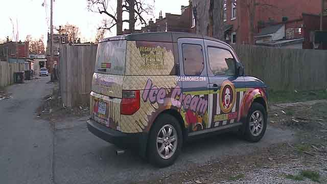 This ice cream truck, which belongs to I Scream Cakes, was found Tuesday after being stolen Monday. Credit: KMOV