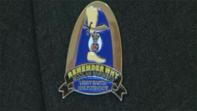 A button Lenny Martin, the Potentate of the Moolah Shrine, wears (Credit: KMOV)