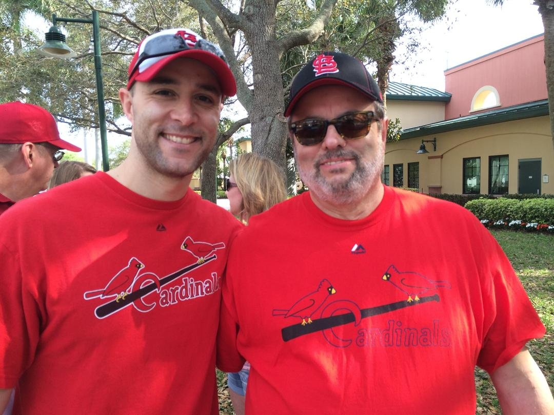 Tony and Joe Venzon, as part of a father-son road trip, prepare to take in a game at Roger Dean Stadium. Photo Credit: KMOV