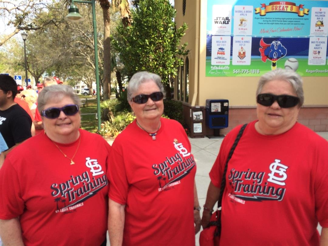 Sisters Shirley Fisher, Sue Kirgan and Donna Goldman wait to enter Roger Dean Stadium for the Cardinals' game against the Tigers. Photo Credit: KMOV