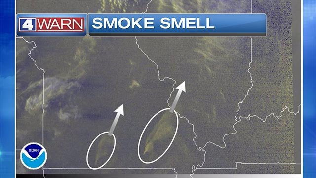 A satellite image showing smoke to the west of St. Louis Monday night (Credit: National Weather Service)