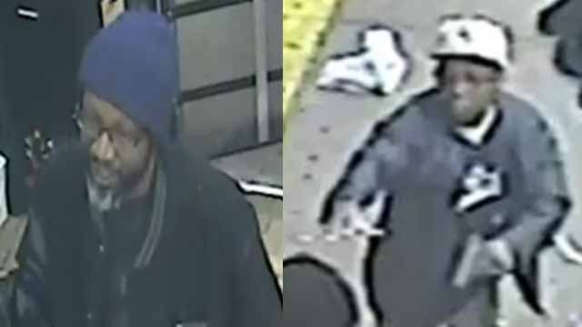 Police believe the suspect on the suspect on the left was in an argument with Demetrius Bolden outside Ferguson market before the person on the right shot Bolden. Credit: CrimeStoppers