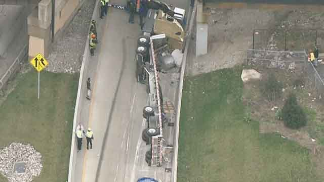 A semi that overturned last week. (Credit: KMOV)