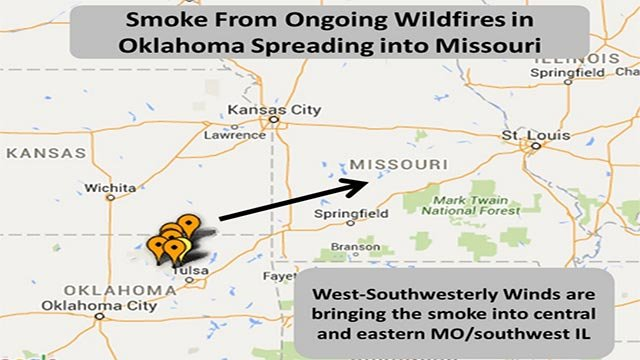 Map regarding smoke from ongoing wildfires (Credit: National Weather Service / Twitter)