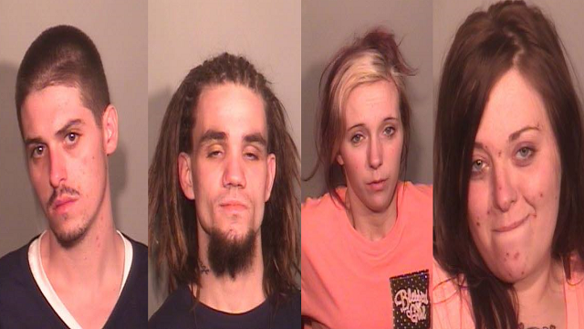 Brandon Van Doren, Shawn Lamb, Tosha Fox and Tesch Sensabaugh were all arrested on multiple charges after leading police on a bi-state chase. (Credit: Columbia Police Department)