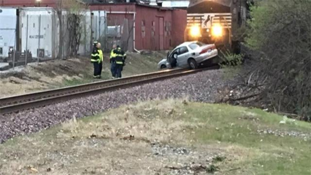 Emergency crews responded after a train hit a car in Belleville Friday (Credit: KMOV)