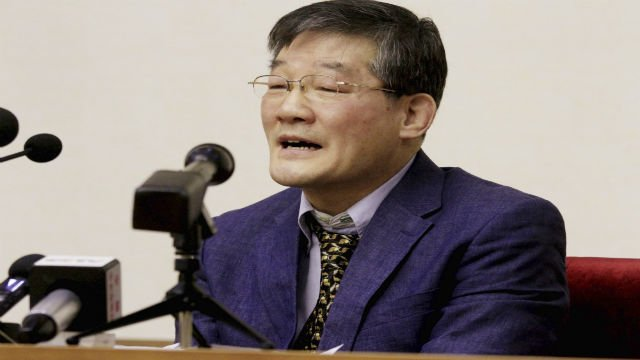 Kim Tong Chol, a U.S. citizen detained in North Korea, speaks as he is presented to reporters in Pyongyang, North Korea on Friday, March 25, 2016. (AP Photo/Kim Kwang Hyon)