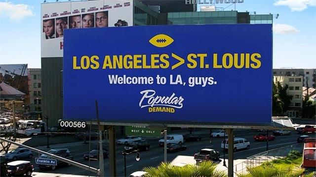 Billboard put up by Poplar Demand in Los Angeles (Credit: Popular Demand / Twitter)