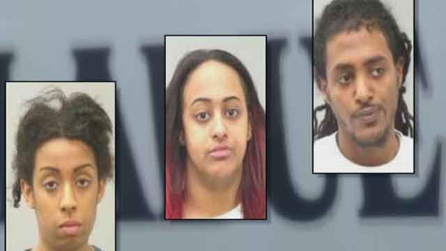 Kayla Burleson, Fana Kiros, and Haben Sebhatu face felony charges of trafficking in stolen identities and possession of a forgery instrument. Police say they found lots of stolen credit cards and a card reading device in their car. Credit: Ladue PD