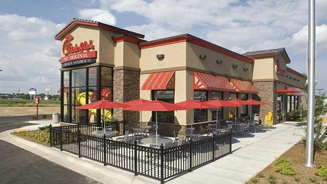 An exterior photograph of a Chick-fil-A restaurant. (Credit: Chick-fil-A)