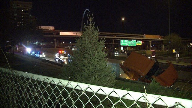 A semi overturned on Monday night. (Credit: KMOV)