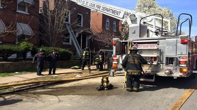 A dog died in a fire in the 3500 block of Nebraska Avenue Tuesday afternoon. (Credit: KMOV)