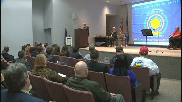Ceremony honoring Vietnam veterans at Robert Young Federal Building in downtown St. Louis (Credit: KMOV)