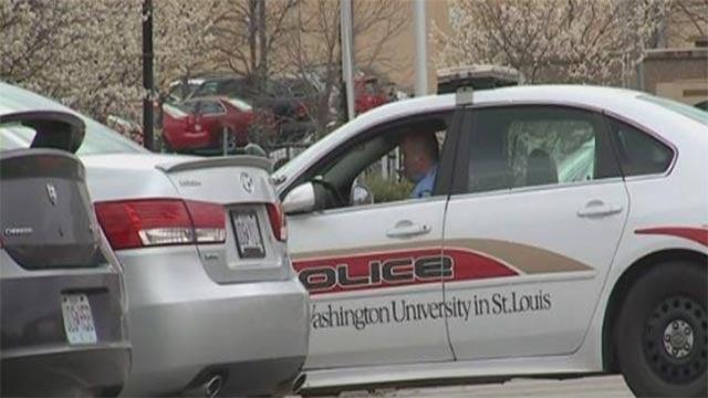 A police vehicle at Washington University's North Campus (Credit: KMOV)