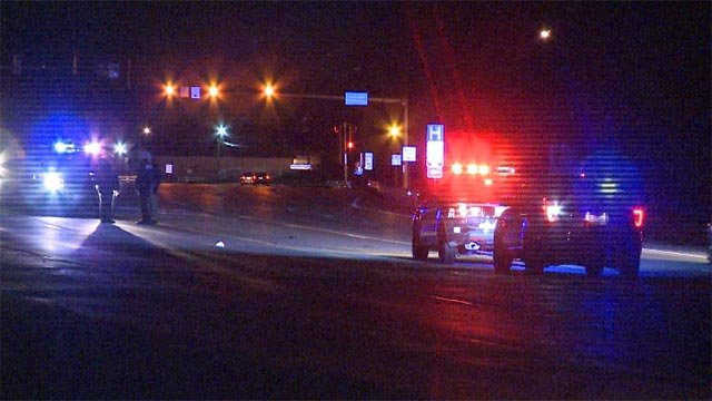 A person was struck by a vehicle around 1 a.m. Friday in the area of Frank Scott Parkway and Route 161 (Credit: KMOV)