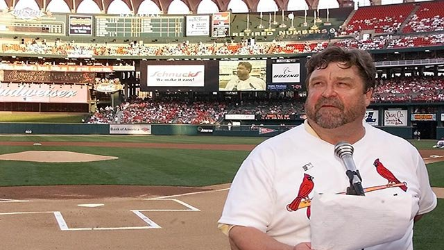 Actor and St. Louis native John Goodman recites the farewell speech of Lou Gehrig as part of the league-wide celebration of Project ALS Day, Saturday, June 1, 2002 (Credit: AP Photo / Tom Gannam)