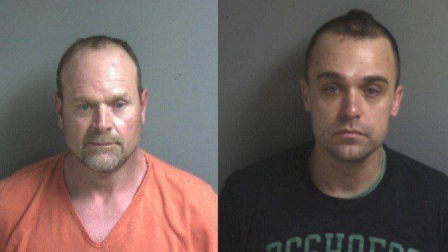 Jeffrey Baumann, left, was arrested in connection to the Sunday house explosion. Bryan Whitby, right, was arrested for possession of heroin. (Credit: Franklin County Sheriff's Office)