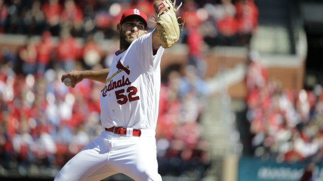 St. Louis Cardinals starting pitcher Michael Wacha throws during the first inning of a baseball game against the Milwaukee Brewers Monday, April 11, 2016, in St. Louis. (AP Photo/Jeff Roberson)