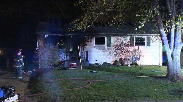A home in the 10800 block of Glen Garry caught fire in North County Tuesday (Credit: KMOV)