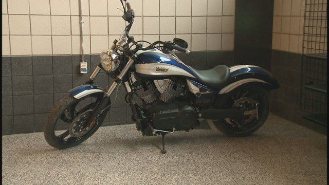 The St. Louis Blues are raffling off a 2008 Victory motorcycle to raise money for Emily's Ride and Blues for Kids foundation (Credit: KMOV).
