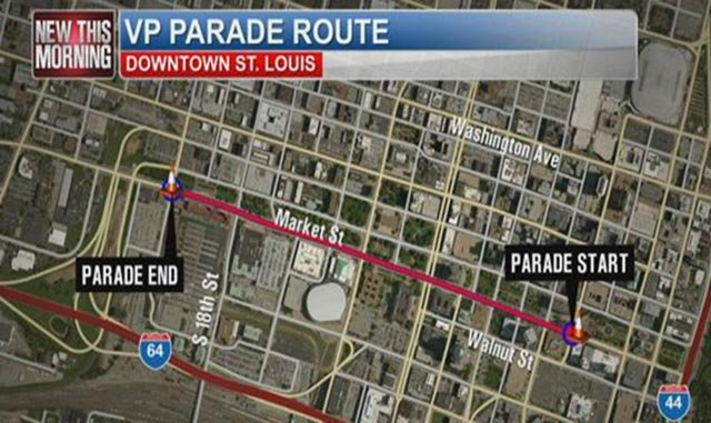 A map of the 2016 Veiled Prophet Parade route (Credit: KMOV)