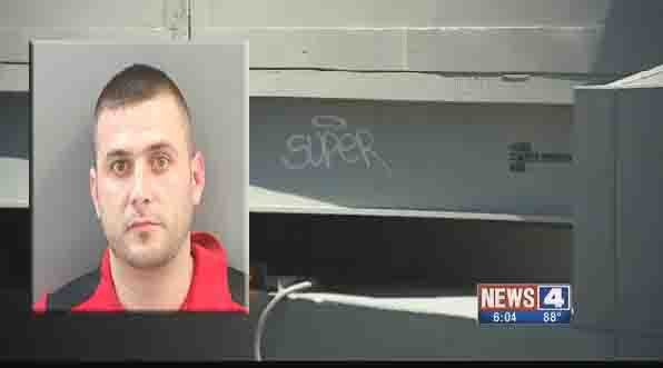 "David Cox is accused of spray painting ""Super"" on apartment buildings (Credit: Police)"