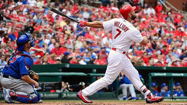 ST. LOUIS, MO - APRIL 20: Matt Holliday #7 of the St. Louis Cardinals hist a two run home run during the first inning against the Chicago Cubs at Busch Stadium on April 20, 2016 in St. Louis, Missouri. (Photo by Jeff Curry/Getty Images)