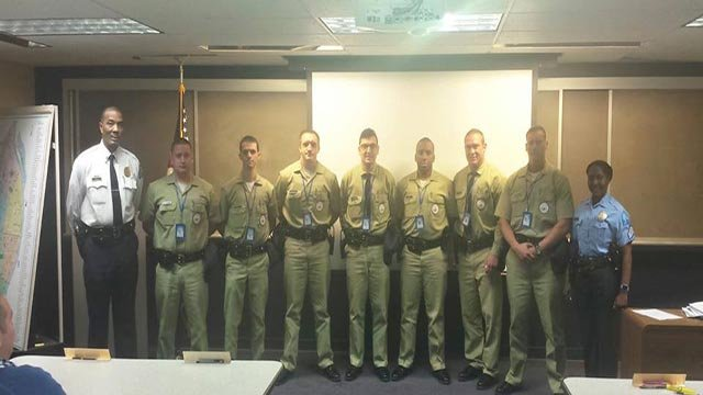 Recruit Trainees: Dustin Boone, Andrew Gaines, Gagik Khoudian, Matthew McInerny, Joshua Morrison, Nathan Strickland, Randal Welsch, Pictured with Academy Director Lt. (Credit: St. Louis PD)