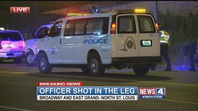 An officer is in stable condition after being shot in North City Saturday night (Credit: KMOV)