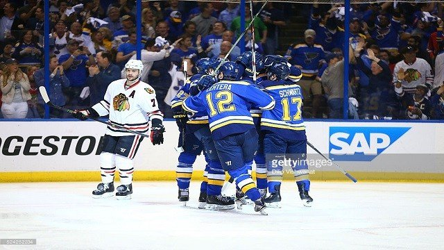 Game Seven of the Western Conference First Round during the 2016 NHL Stanley Cup Playoffs at the Scottrade Center. Credit: Dilip Vishwanat