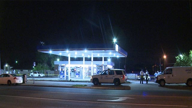 Two people were hospitalized following a shooting in the 5700 block of Natural Bridge Road Wednesday (Credit: KMOV)