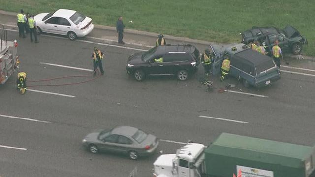 Lanes of I-44 at Vandeventer were closed Wednesday following a crash (Credit: KMOV)