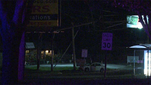 A car crashed into a utility pole on South Kirkwood Road Thursday morning (Credit: KMOV)