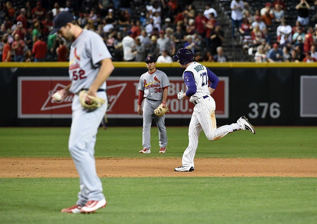 Brandon Drury #27 of the Diamondbacks rounds the bases after hitting a solo home run during the third inning off of pitcher Michael Wacha #52 of the St Louis Cardinals on April 28, 2016 in Phoenix, Arizona. (Photo by Norm Hall/Getty Images)