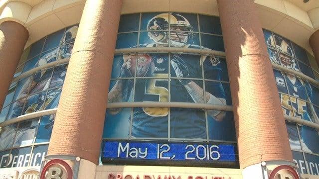 Rams posters hanging at Edward Jones Dome (Credit: KMOV)