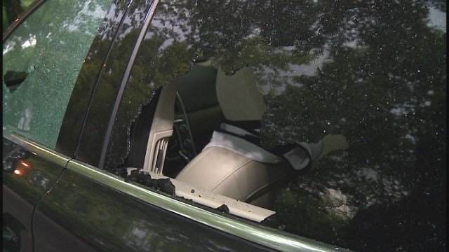 Shattered car windows in South City (Credit: KMOV)
