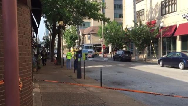 Emergency crews were in the area of Laclede and South Euclid after a natural gas line ruptured Tuesday (Credit: St. Louis Fire Department / Twitter)