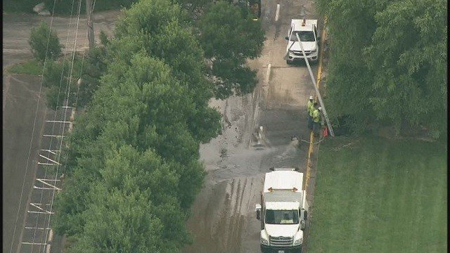 Crews working on one of many water mains across St. Louis area on June 14 (Credit: KMOV).