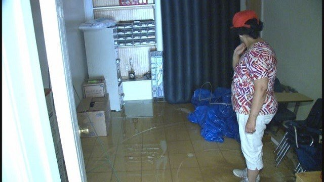 Water covering the floor inside St. Mary and St. Abraam Coptic Orthodox Church due to water main break (Credit: KMOV)